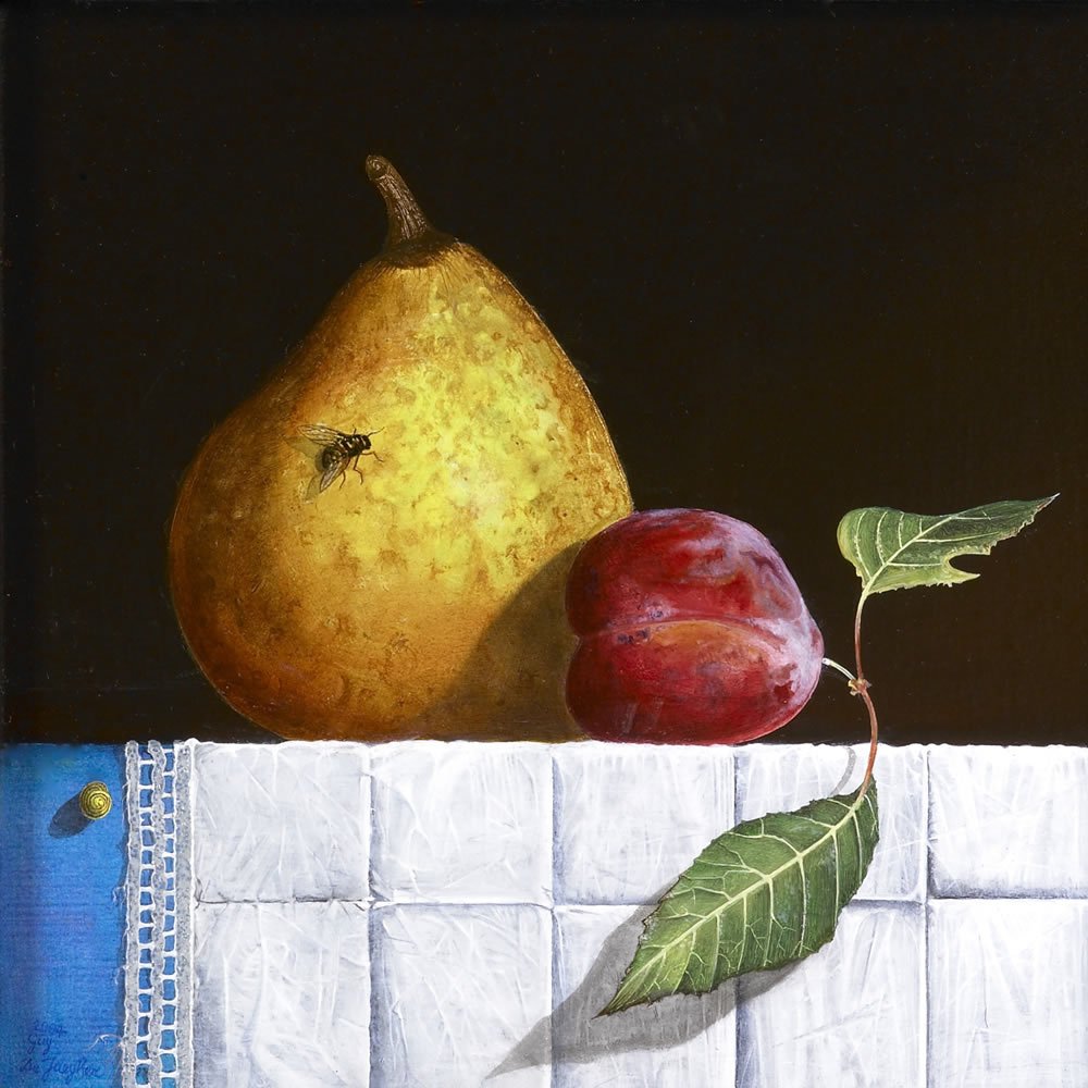 A Fly on a Ripe Pear, Oil on panel, 15x15 cm