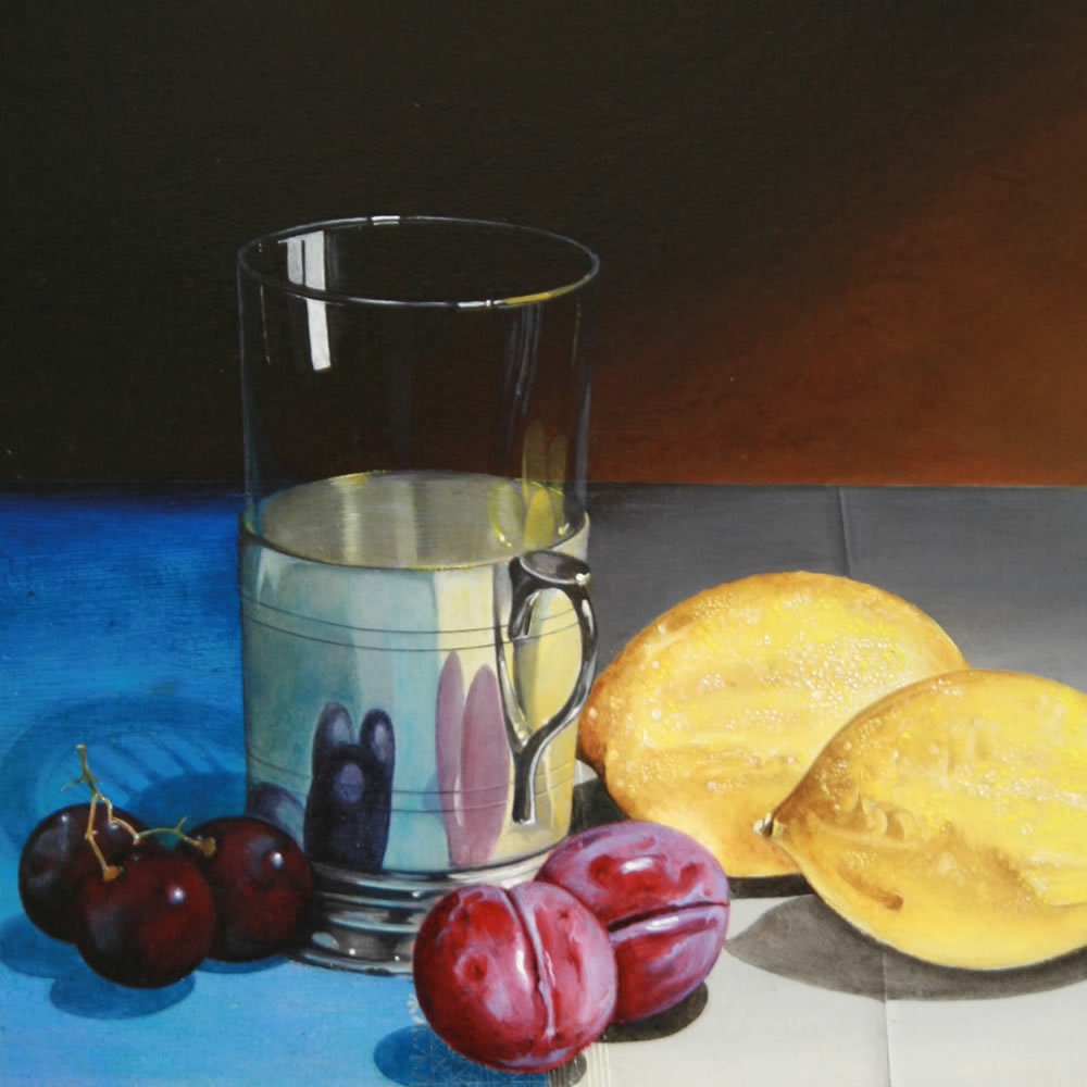 A silver tea-glass holder and Fruit, Oil on panel, 30x40 cm