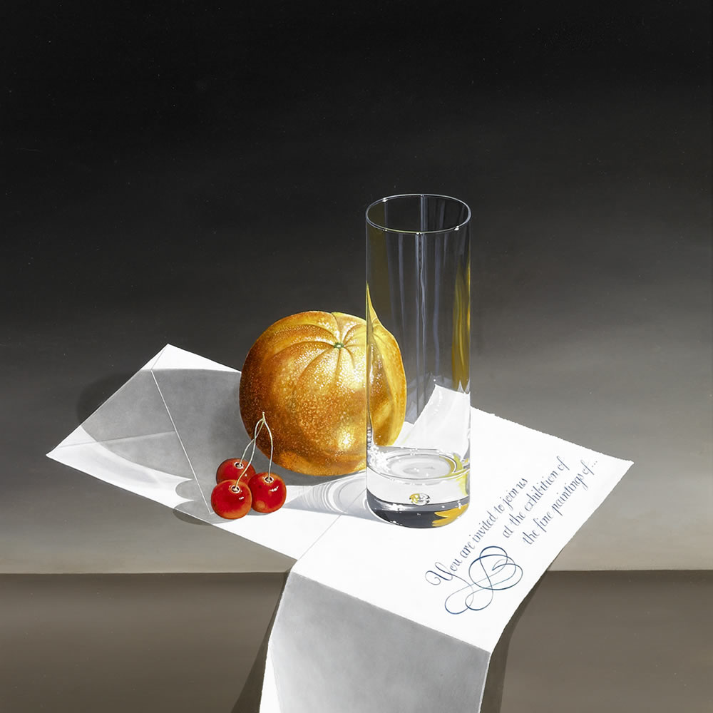 A Shiny Glass and Fruit placed upon an invitation letter, Oil on panel, 60x40 cm