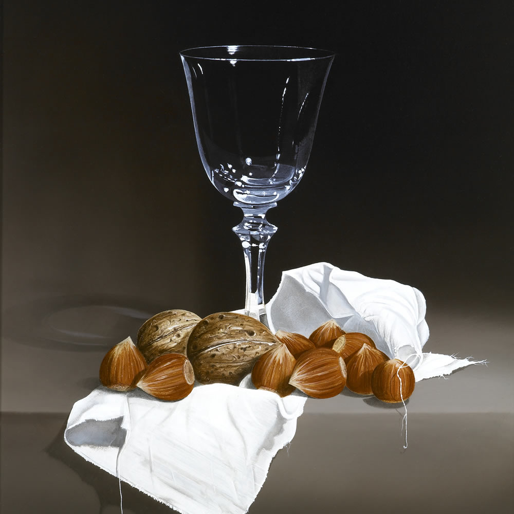 A Wine Glass, Hazel- and Walnuts on a White but Thready Piece of Cloth, Oil on panel, 40x30 cm