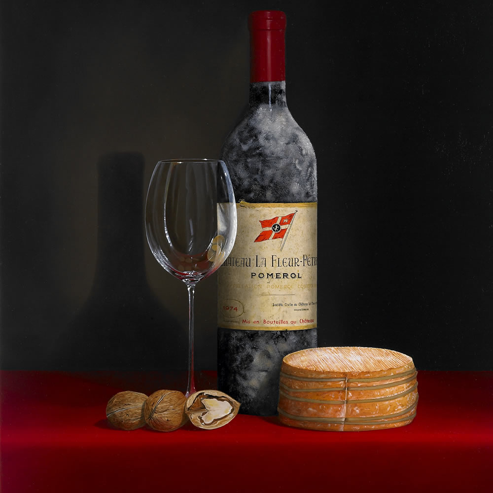 Château La Fleur-Pétrus 1974, a shiny Wine Glass, a French 'Livarot' Cheese and Walnuts, Oil on panel, 80x60 cm