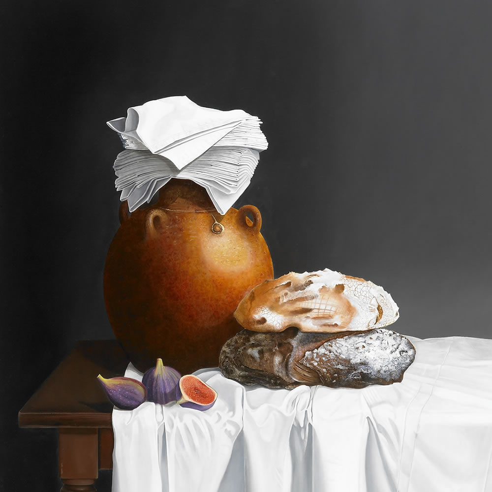 An Earthenware jug, Bread and Figs, Oil on panel, 110x90 cm
