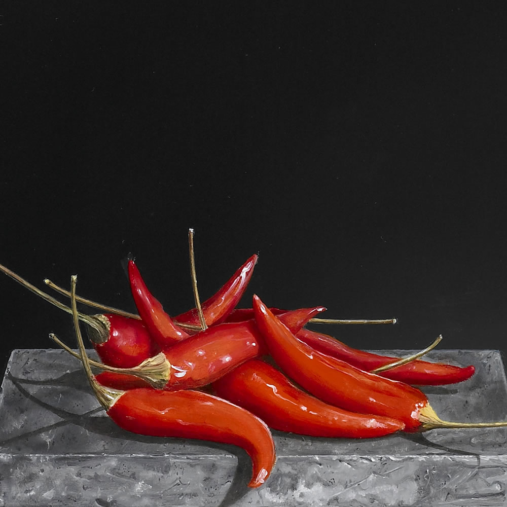 Red Peppers on a Belgian Bleu stone, Oil on panel, 29x42 cm
