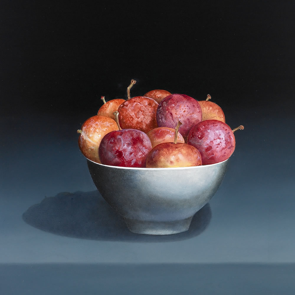 Victoria Plums in a White Round Bowl, Oil on panel, 55x32 cm