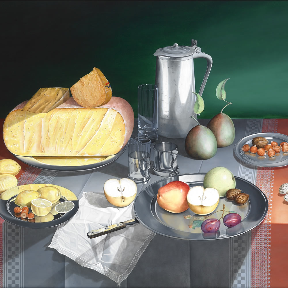 Still life with Cheese and Fruit , Oil on panel, 80x100 cm