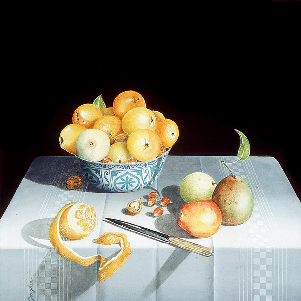 Stille Life with a Peeled Orange and Fruit in a China-ware Bowl, Oil on panel, 14x13 cm