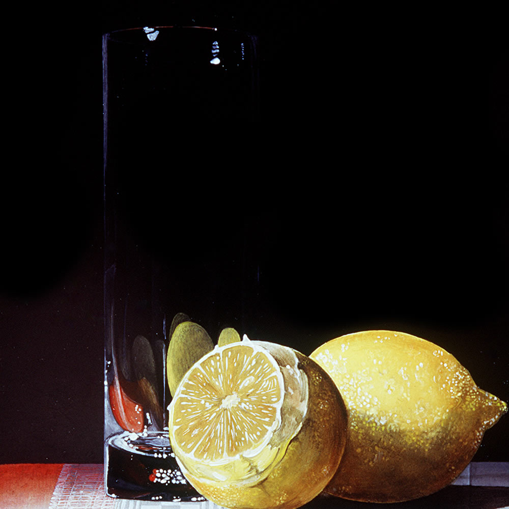 Two Californian Lemons next to a Fragile Glass, Oil on panel, 25x20 cm